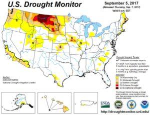 US Drought Monitor map - courtesy of UNL